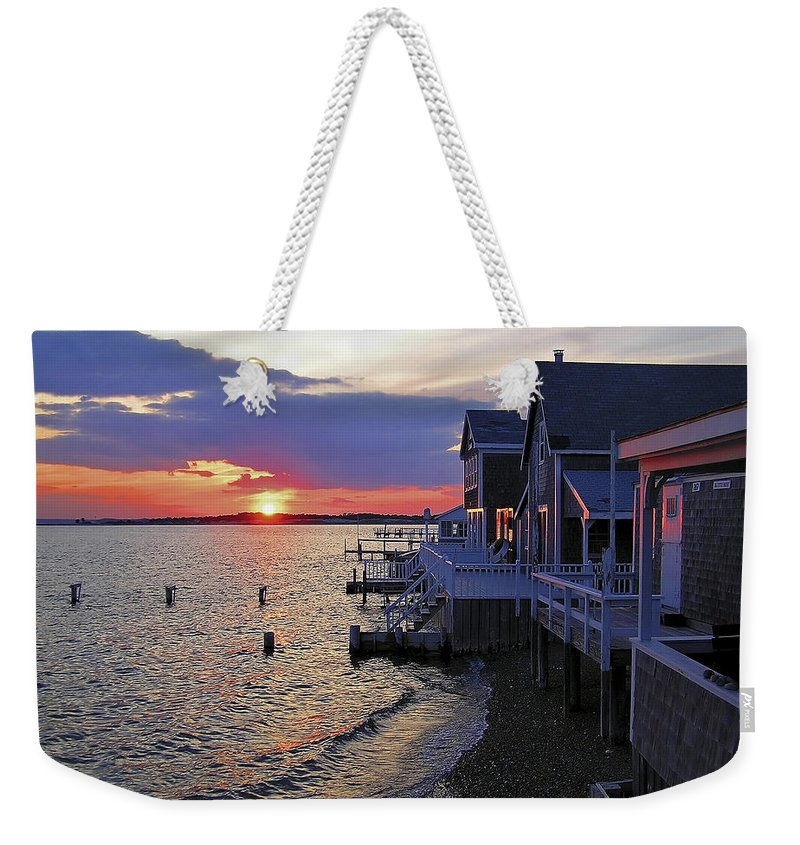Sandy Neck Weekender Tote Bag featuring the photograph Sandy Neck Sunset At The Cottages by Charles Harden