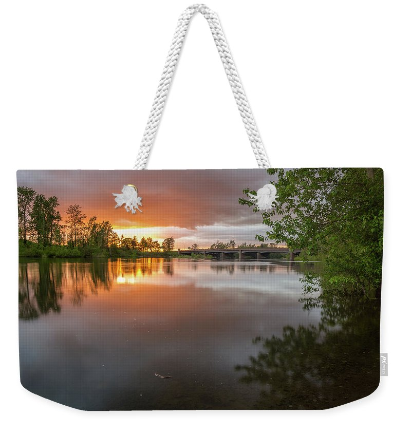Sunset Weekender Tote Bag featuring the photograph Sandy River Sunset by Daniel Gomez