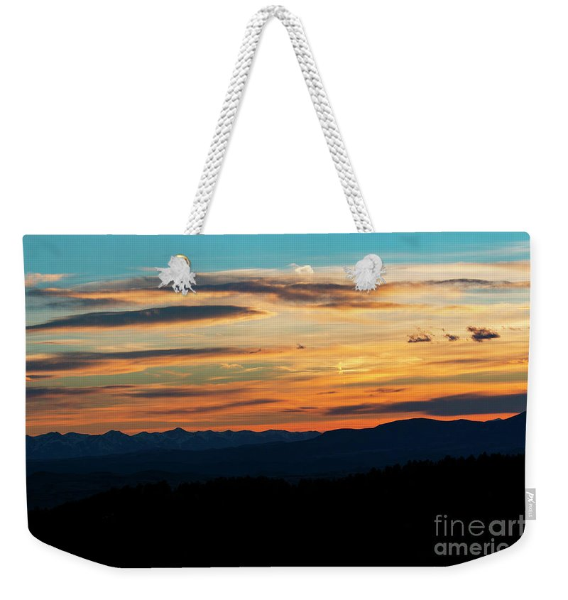 Sunset Weekender Tote Bag featuring the photograph Sangre De Cristo Mountain Sunst by Steve Krull