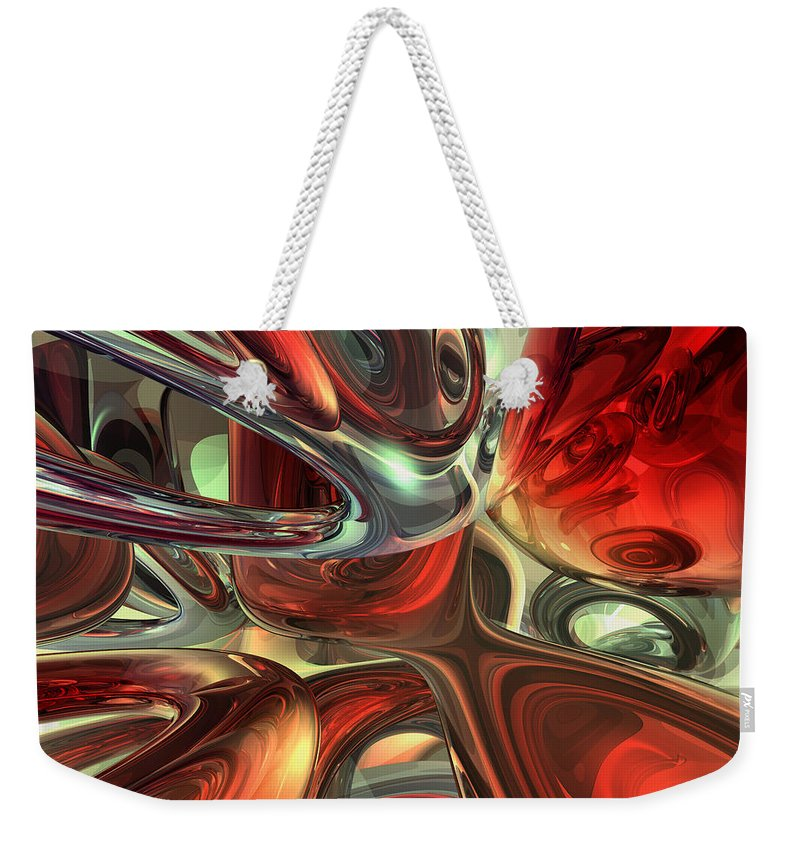 3d Weekender Tote Bag featuring the digital art Sanguine Abstract by Alexander Butler