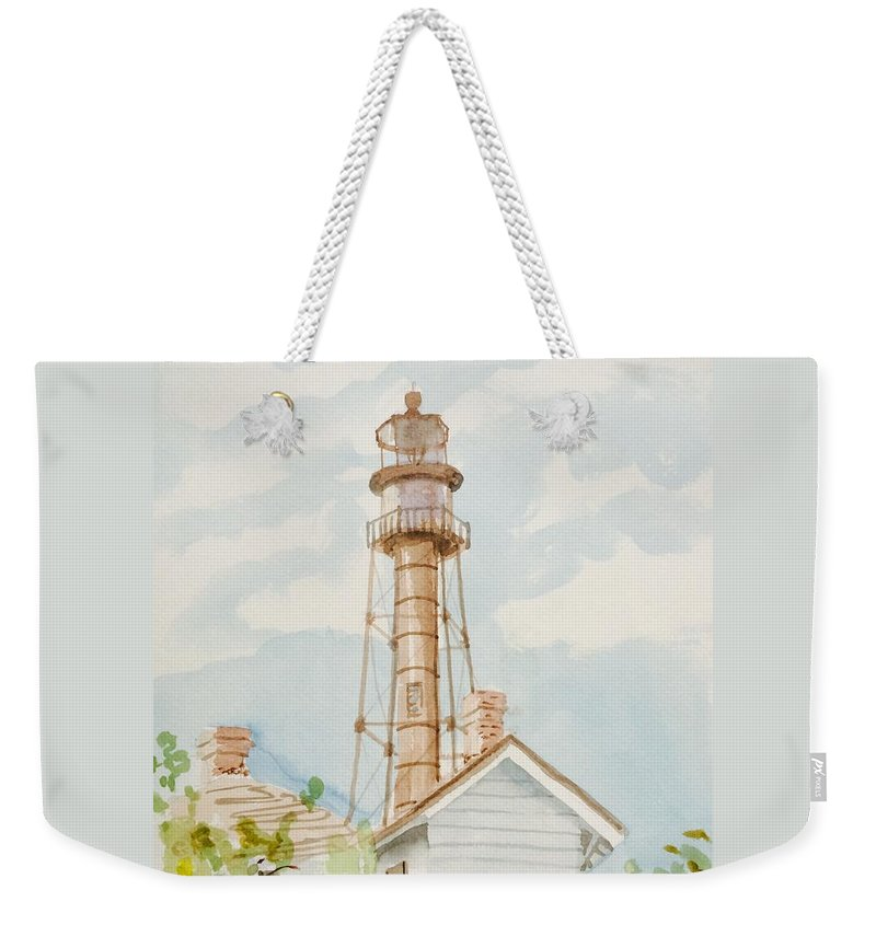 Sanibel Captiva Weekender Tote Bag featuring the painting Sanibel Lighthouse 2 by Maggii Sarfaty