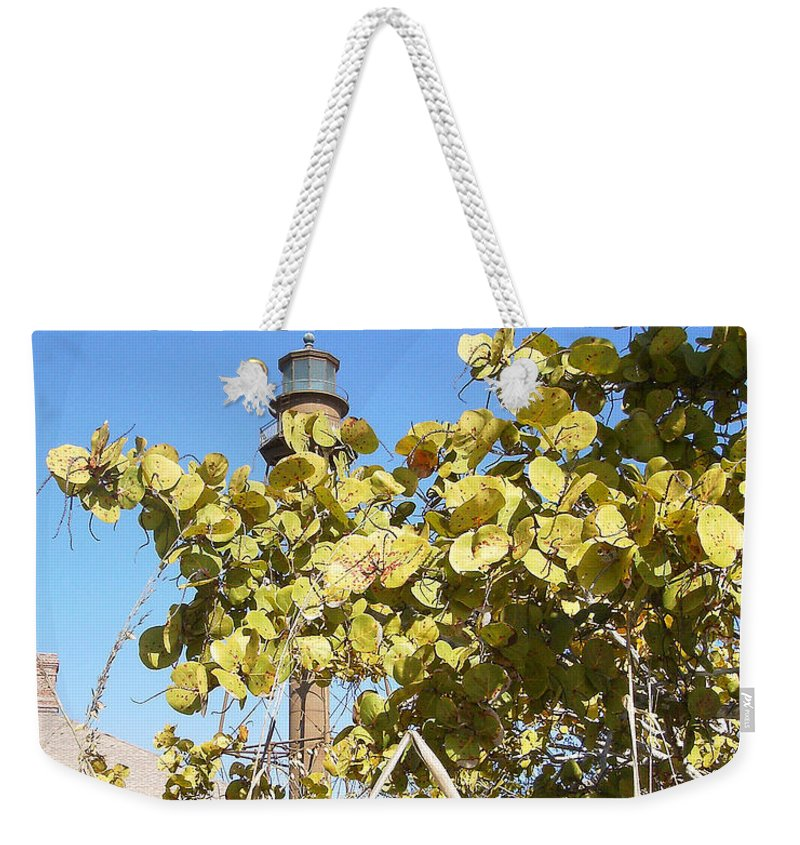 Florida Weekender Tote Bag featuring the photograph Sanibel Lighthouse by Chris Andruskiewicz