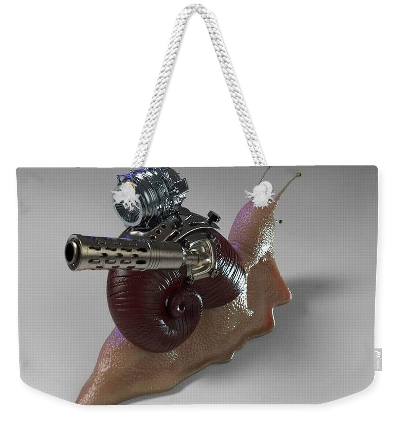Snail Turbo Back Weekender Tote Bag featuring the digital art Sanil Back by Pedro Oliveira
