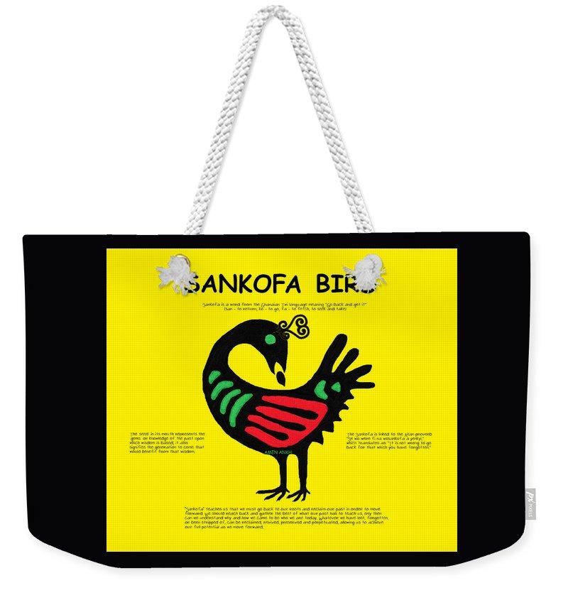 Sankofa Bird Of Knowledge Weekender Tote Bag featuring the digital art Sankofa Bird Of Knowledge by Adenike AmenRa