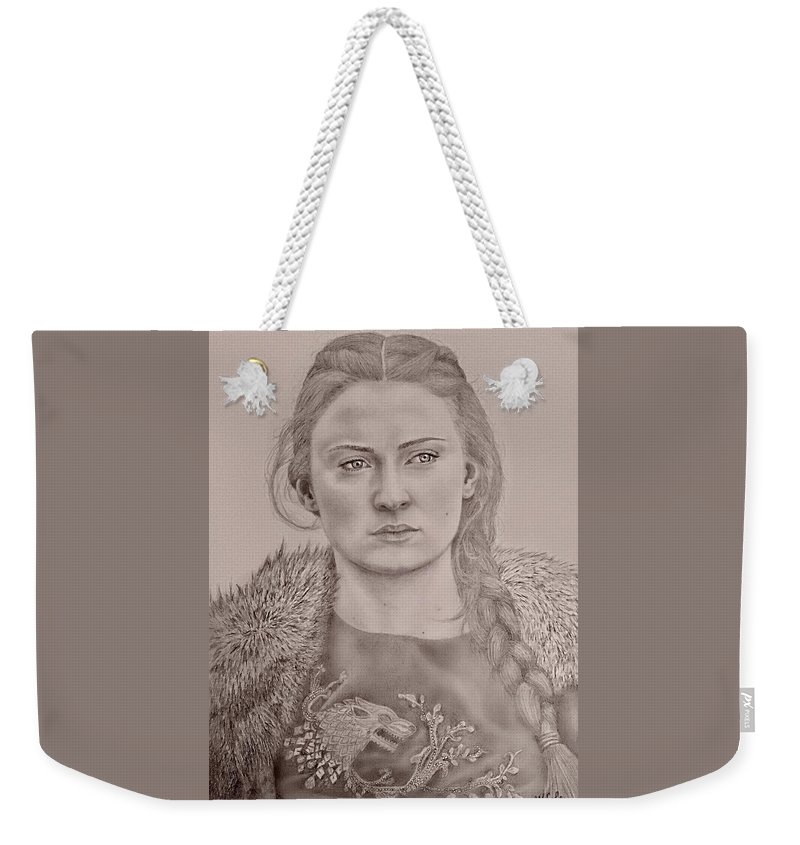 Got Weekender Tote Bag featuring the drawing Sansa Stark by Vanessa Cole