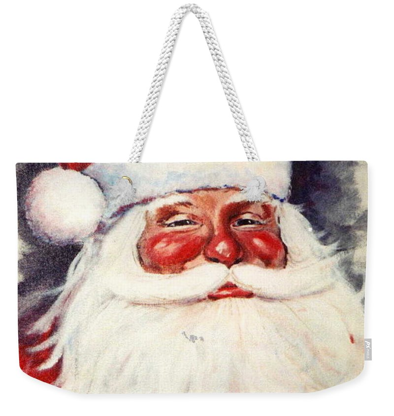 Portrait Weekender Tote Bag featuring the painting Santa 1 by Ronald Dill