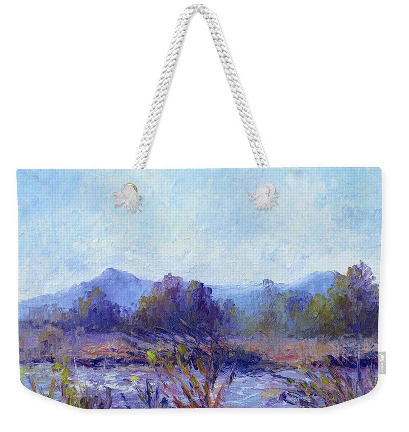 Art Weekender Tote Bag featuring the painting Santa Ana River by Terry Chacon
