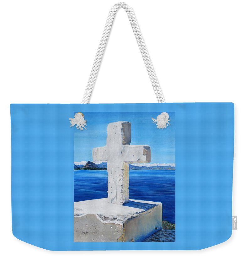 Santa Catarina Weekender Tote Bag featuring the painting Santa Catarina's Cross by Marilyn McNish