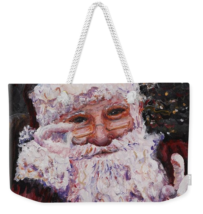 Santa Weekender Tote Bag featuring the painting Santa Chat by Nadine Rippelmeyer