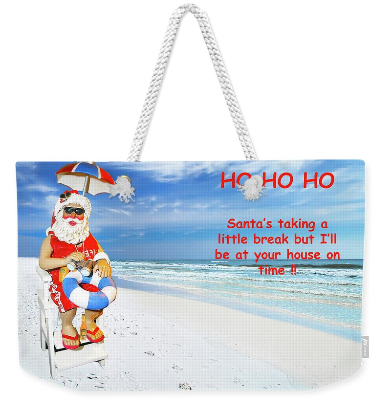Santa Weekender Tote Bag featuring the photograph Santa Christmas Greeting Card by Kay Brewer