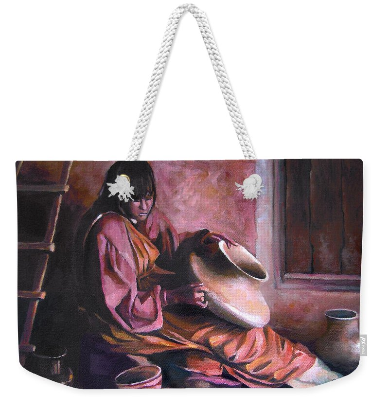 Native American Weekender Tote Bag featuring the painting Santa Clara Potter by Nancy Griswold