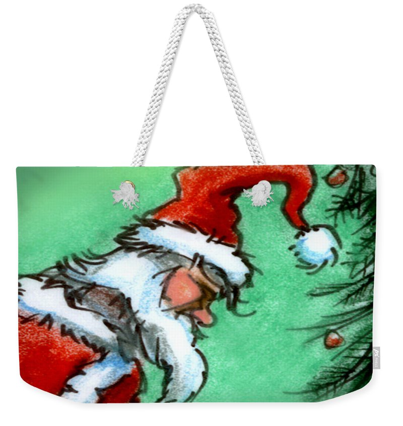 Santa Weekender Tote Bag featuring the painting Santa Claus by Kevin Middleton