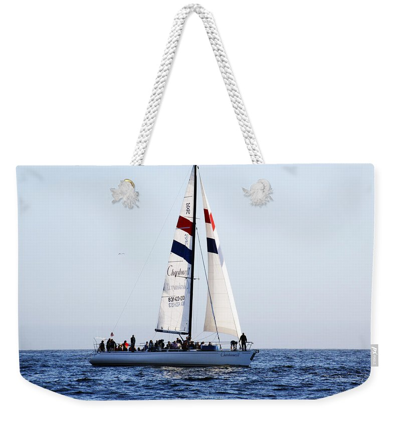 Santa Cruz Weekender Tote Bag featuring the photograph Santa Cruz Sailing by Marilyn Hunt
