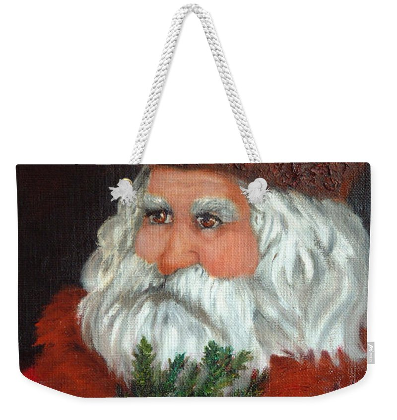 Santa Weekender Tote Bag featuring the painting Santa by Portraits By NC