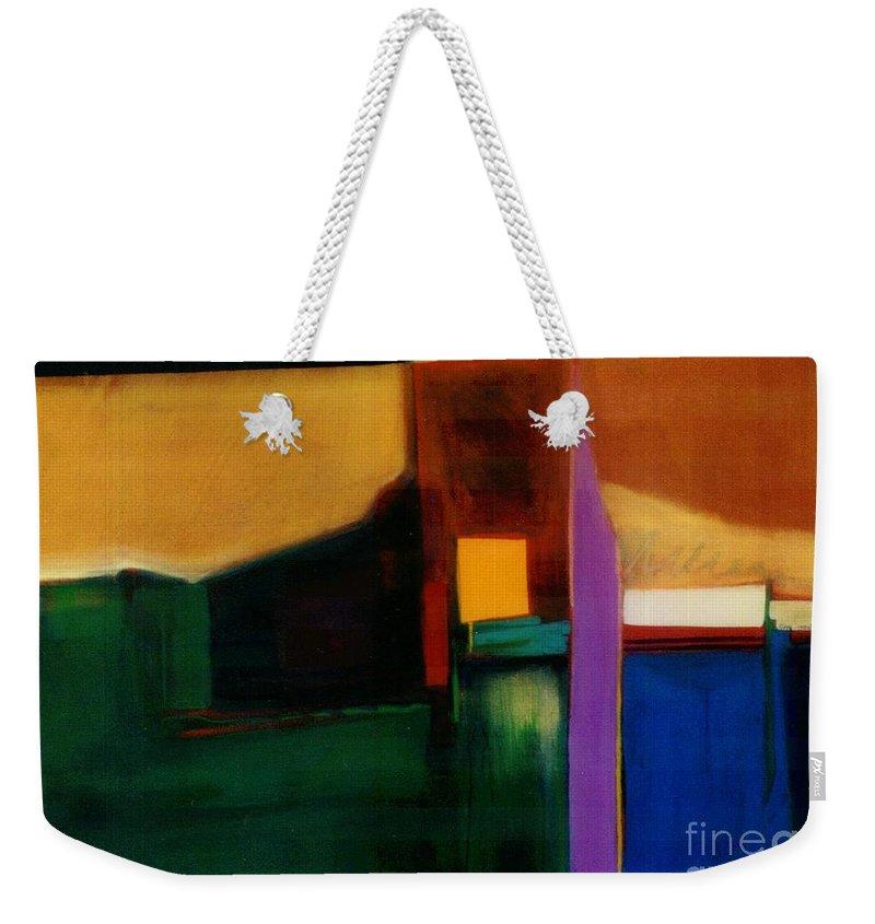 Abstract Weekender Tote Bag featuring the painting Santa Fe 1 Break Loose by Marlene Burns