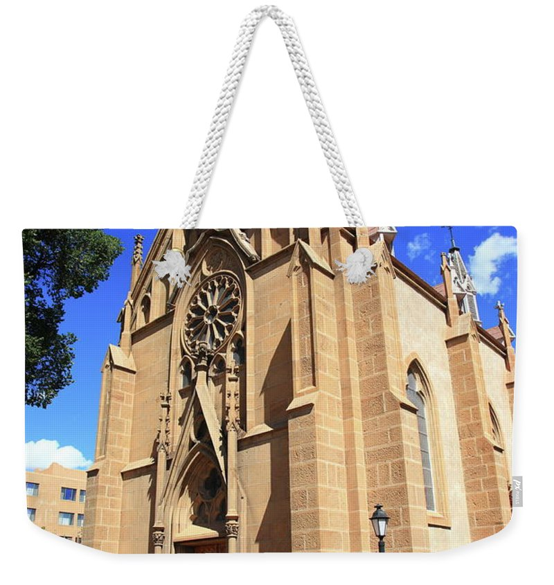 Fine Weekender Tote Bag featuring the photograph Santa Fe Church by Frank Romeo