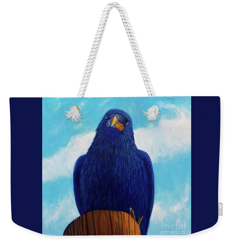 Raven Weekender Tote Bag featuring the painting Santa Fe Smile by Brian Commerford