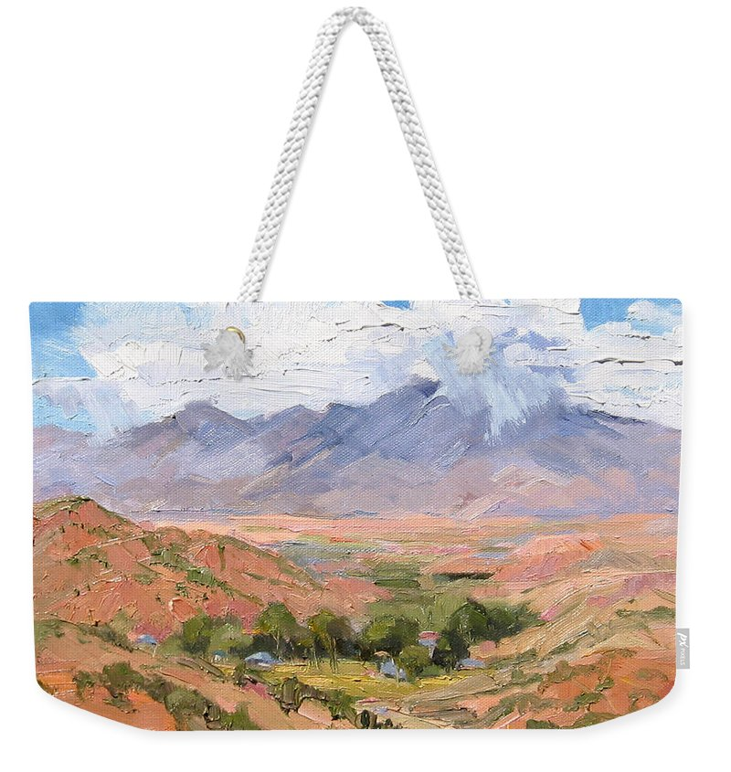 Southwest Scenes Weekender Tote Bag featuring the painting Santa Fe Summer by Cindy Carrillo
