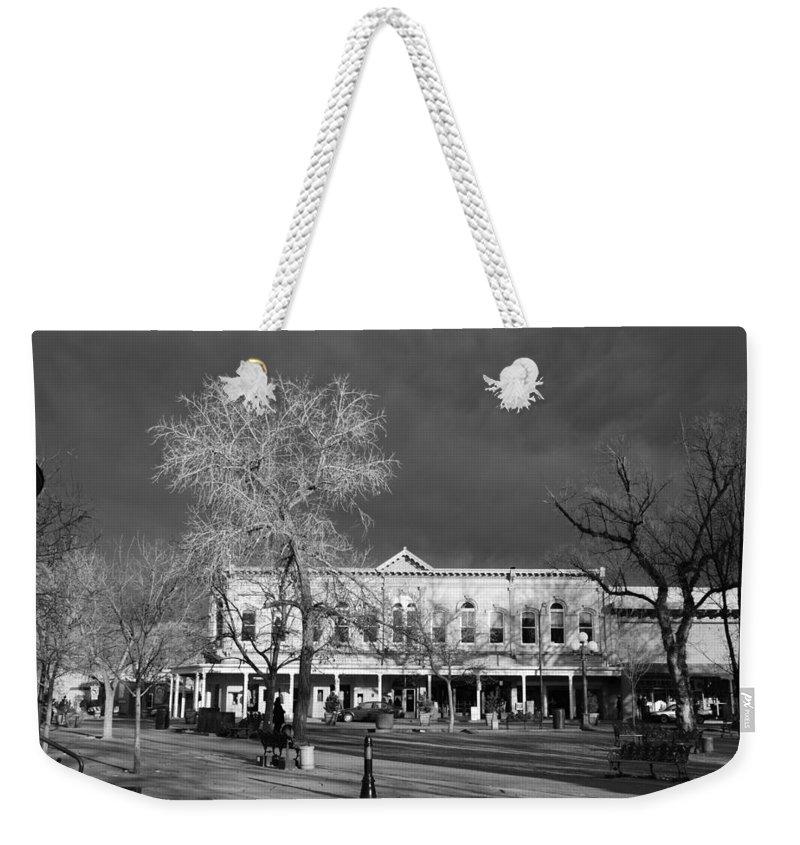 Santa Fe Weekender Tote Bag featuring the photograph Santa Fe Town Square by Rob Hans