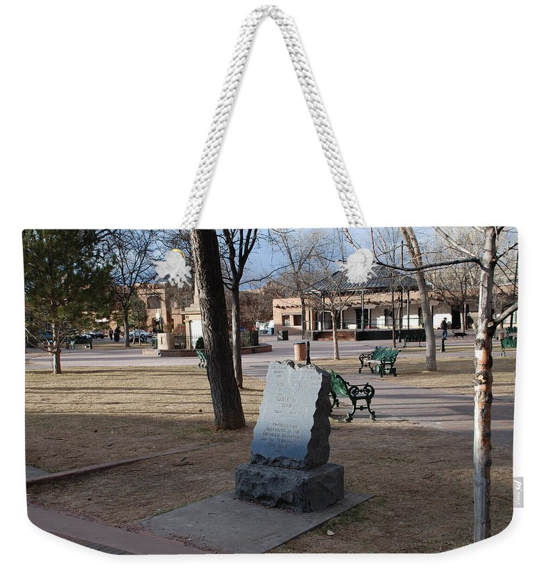 Parks Weekender Tote Bag featuring the photograph Santa Fe Trail Marker by Rob Hans