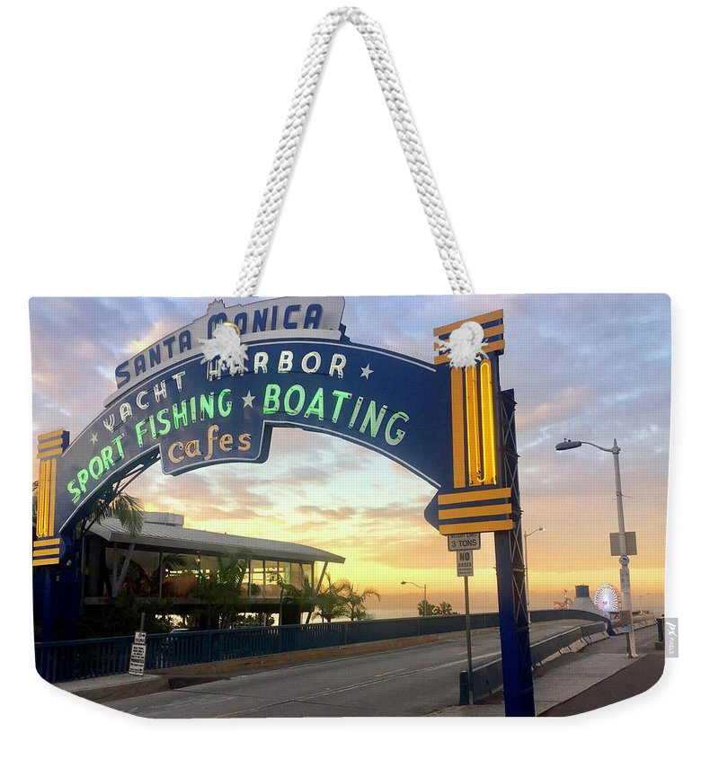 Santa Monica Weekender Tote Bag featuring the photograph Santa Monica Yacht Harbor Sign by Art Block Collections