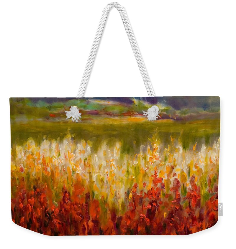 Landscape Weekender Tote Bag featuring the painting Santa Rosa Valley by Shannon Grissom