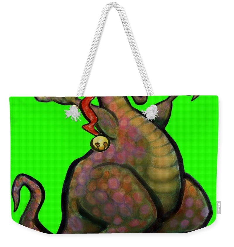 Santa Weekender Tote Bag featuring the digital art Santa Saurus Rex by Kevin Middleton