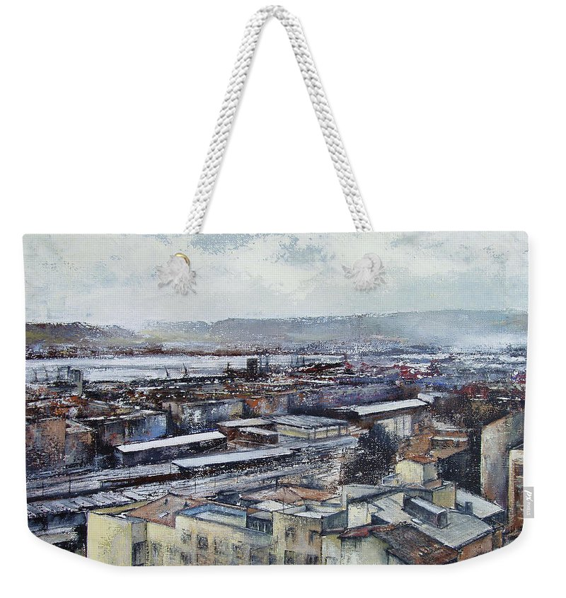 Santander Weekender Tote Bag featuring the painting Santander Panoramic by Tomas Castano