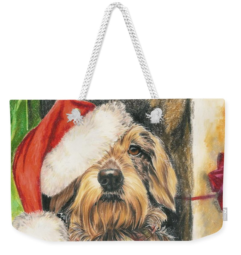 Hound Group Weekender Tote Bag featuring the drawing Santas Little Yelper by Barbara Keith