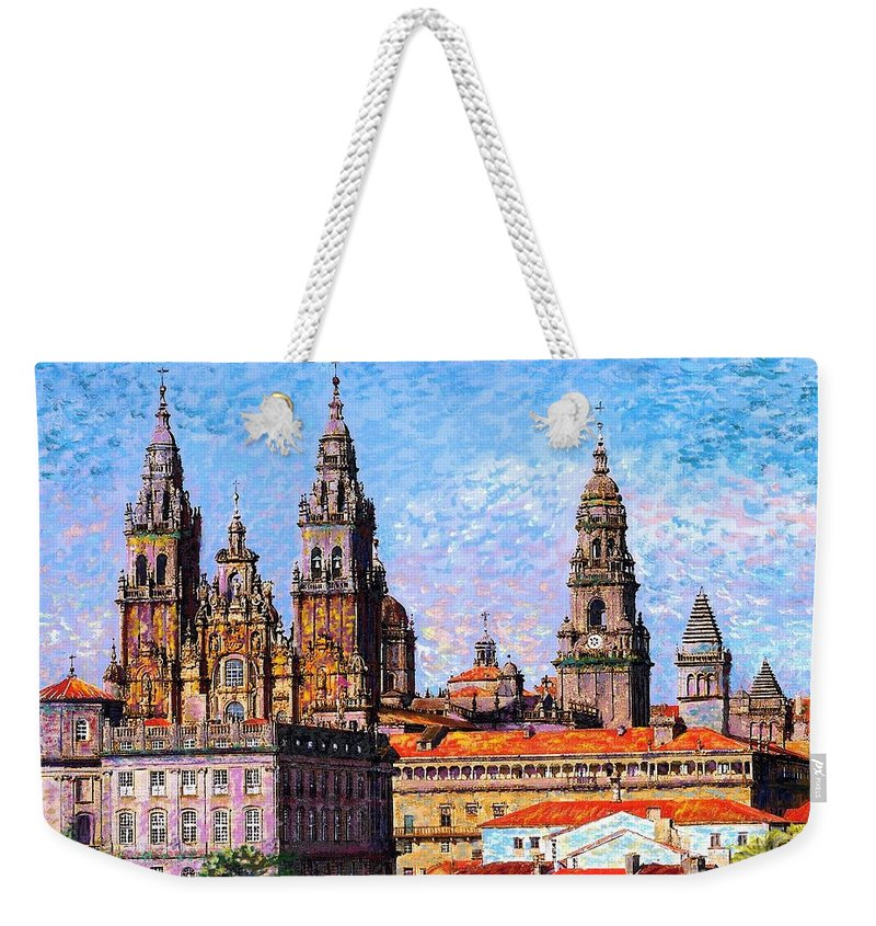 Spain Weekender Tote Bag featuring the painting Santiago De Compostela, Cathedral, Spain by Jane Small