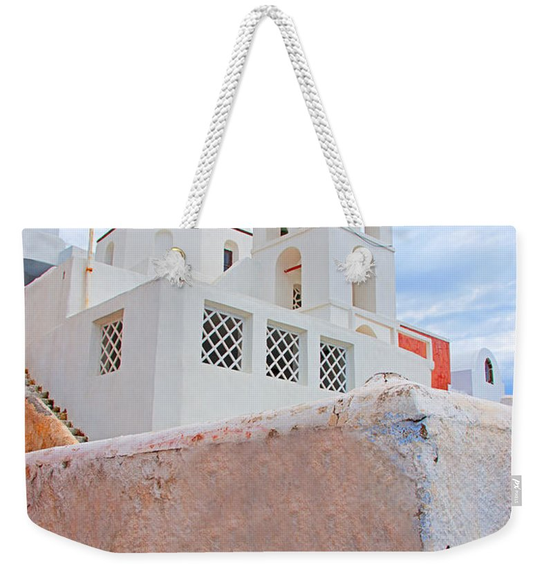 Greece Weekender Tote Bag featuring the photograph Santorini Island Church by Rich Walter