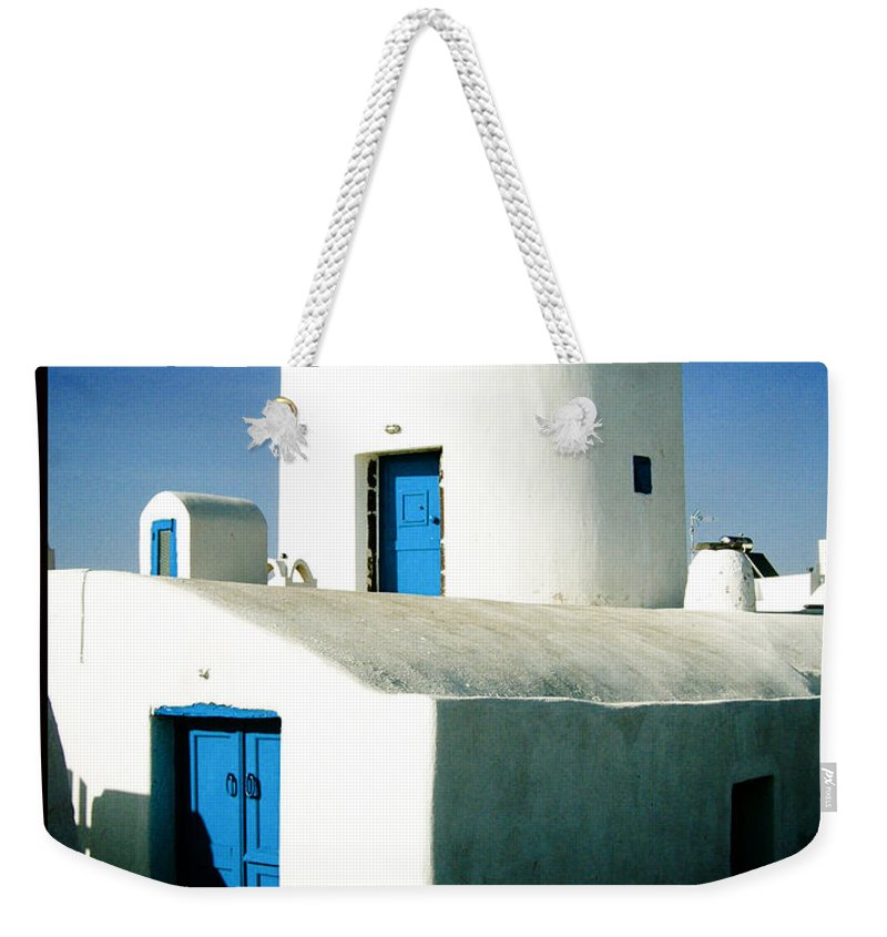 Santorini Weekender Tote Bag featuring the photograph Santorini Silo With Border by Sonal Dave