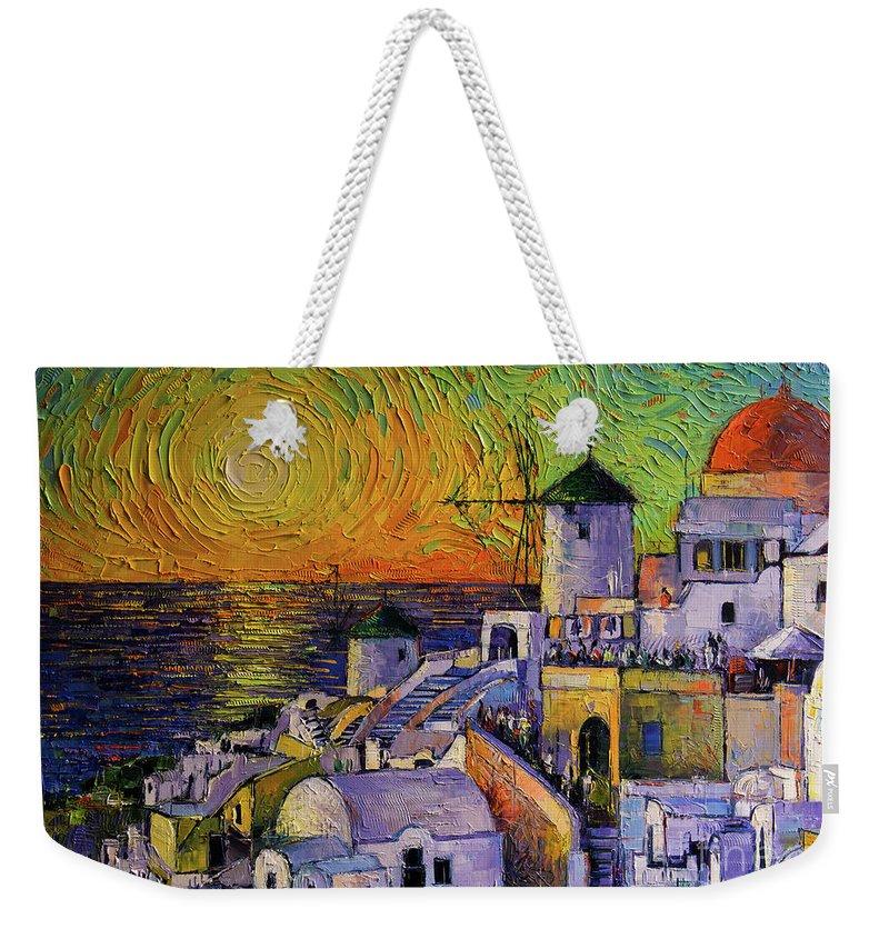 Sunset In Santorini Weekender Tote Bag featuring the painting Santorini Sundown by Mona Edulesco