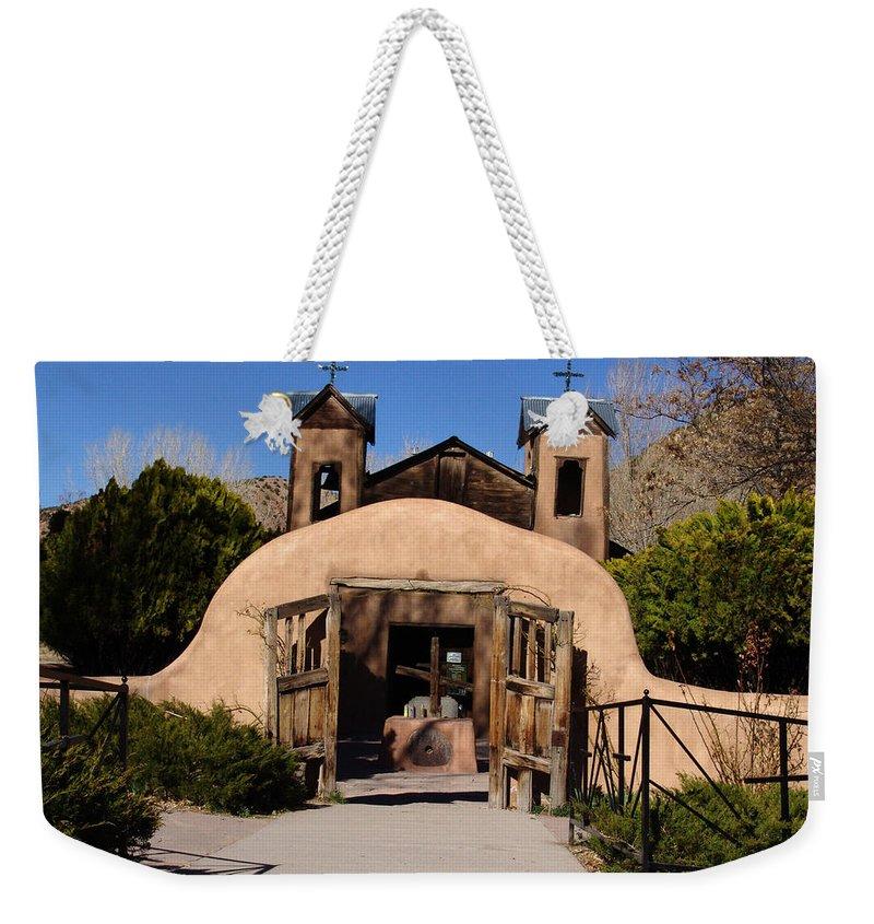 Church Weekender Tote Bag featuring the photograph Santuario De Chimayo Adobe Chapel by Carol Milisen