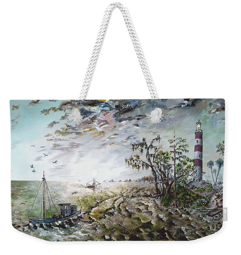 Lighthouse Weekender Tote Bag featuring the painting Sapelo Island by Richard Barham