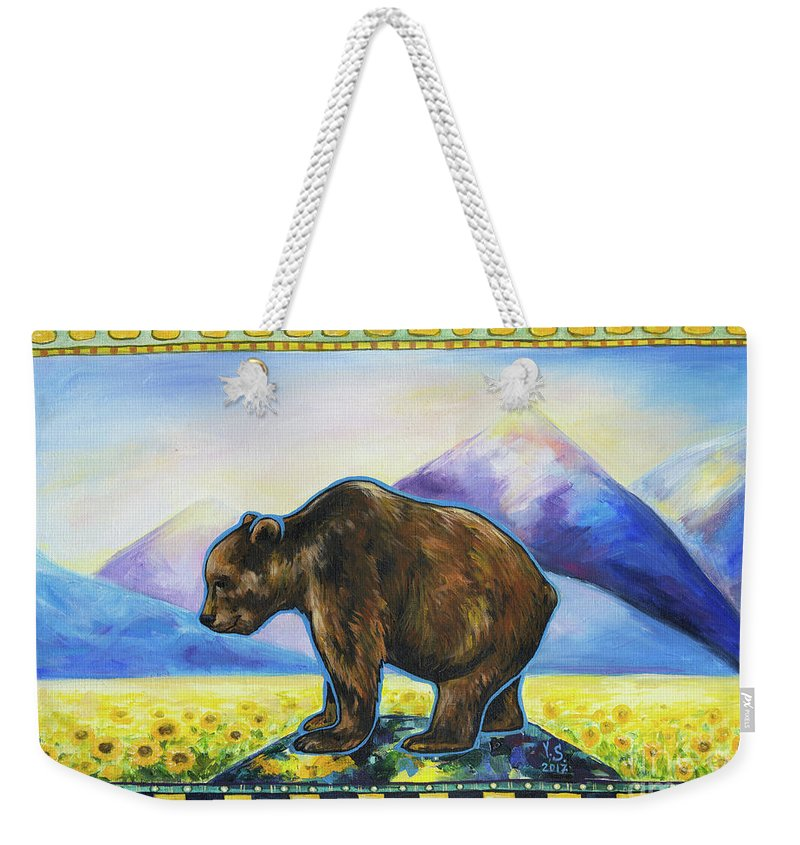 Bear Weekender Tote Bag featuring the painting Sapient by Yana Sadykova