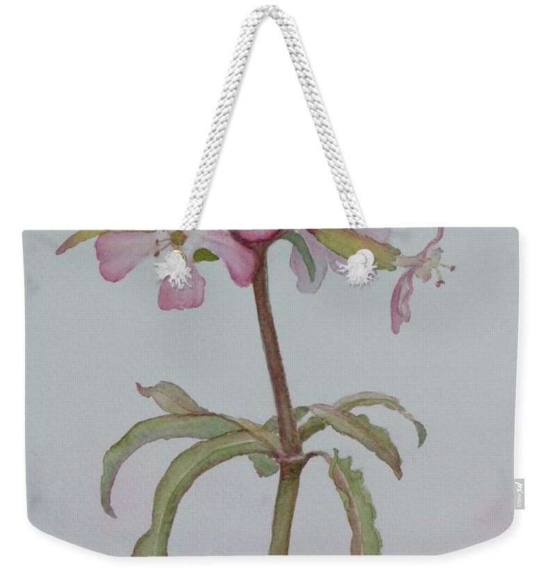 Flower Weekender Tote Bag featuring the painting Saponaria by Ruth Kamenev