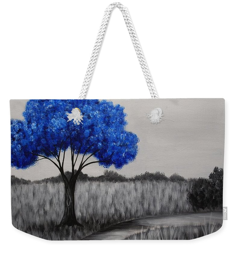 Blue Tree Weekender Tote Bag featuring the painting Sapphire Tree by Emily Page
