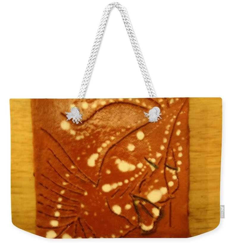 Jesus Weekender Tote Bag featuring the ceramic art Sarah - Tile by Gloria Ssali