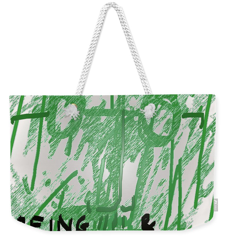 Weekender Tote Bag featuring the mixed media Sartre Poster Jp by Paul Sutcliffe