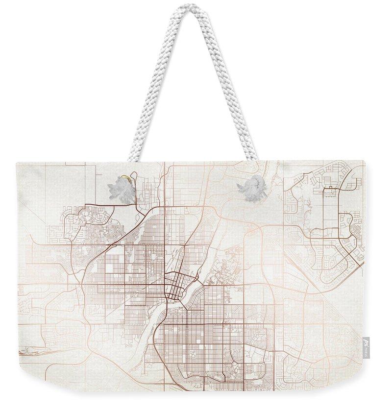 Map Weekender Tote Bag featuring the digital art Saskatoon Street Map Colorful Copper Modern Minimalist by Jurq Studio