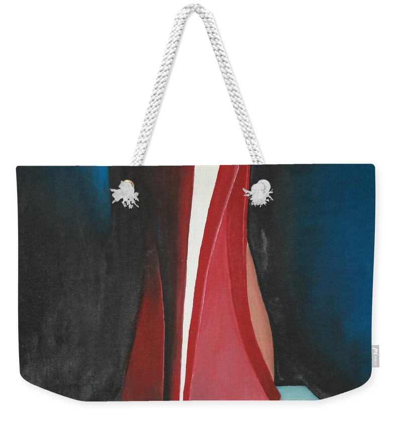 Sassy Shoe Weekender Tote Bag featuring the painting Sassy Shoe by Jacqueline Athmann