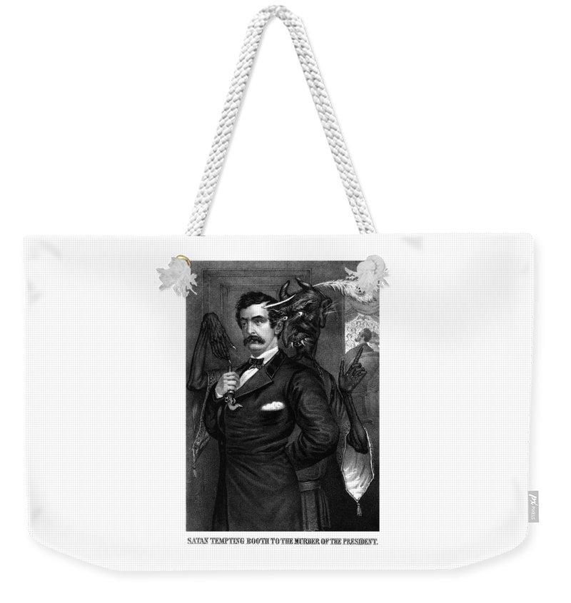 John Wilkes Booth Weekender Tote Bag featuring the drawing Satan Tempting John Wilkes Booth by War Is Hell Store