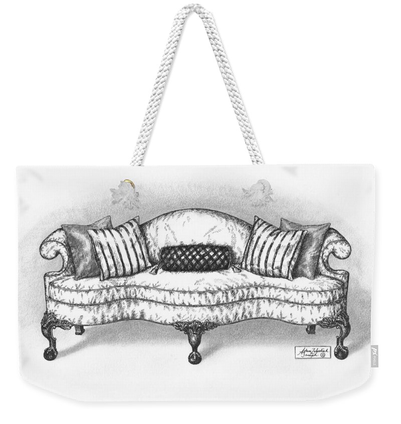 Black Weekender Tote Bag featuring the drawing Satin Chippendale English Sofa by Adam Zebediah Joseph