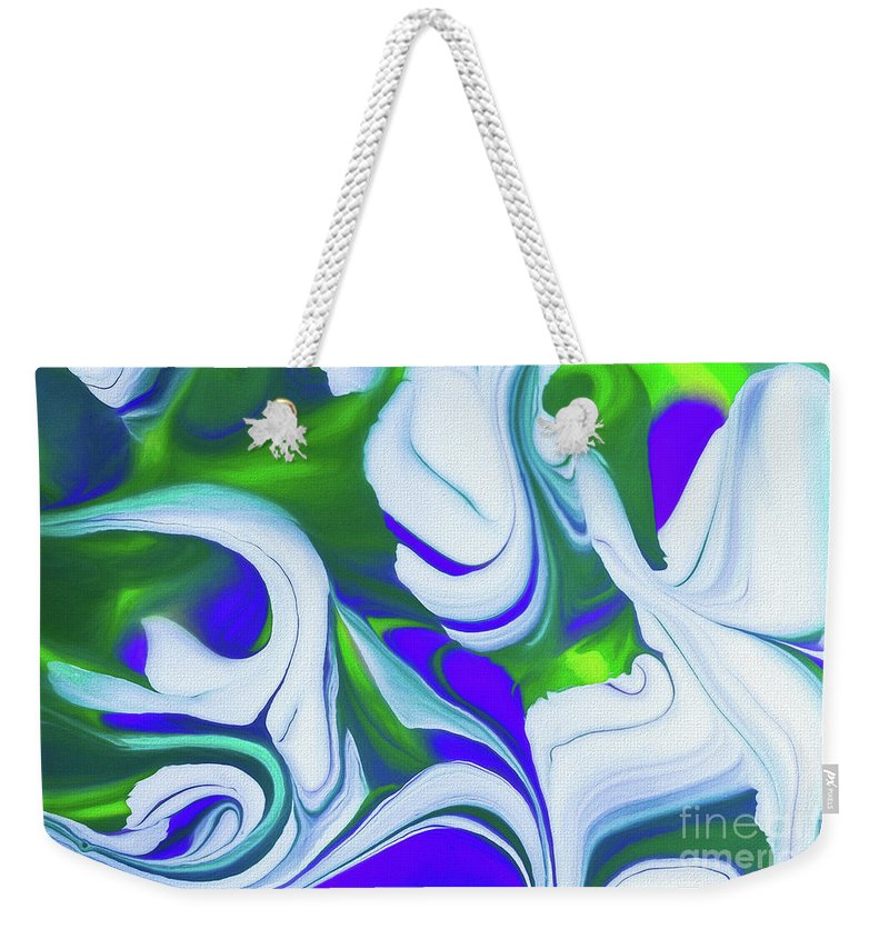 Abstract Weekender Tote Bag featuring the painting Saturday Might by Patti Schulze