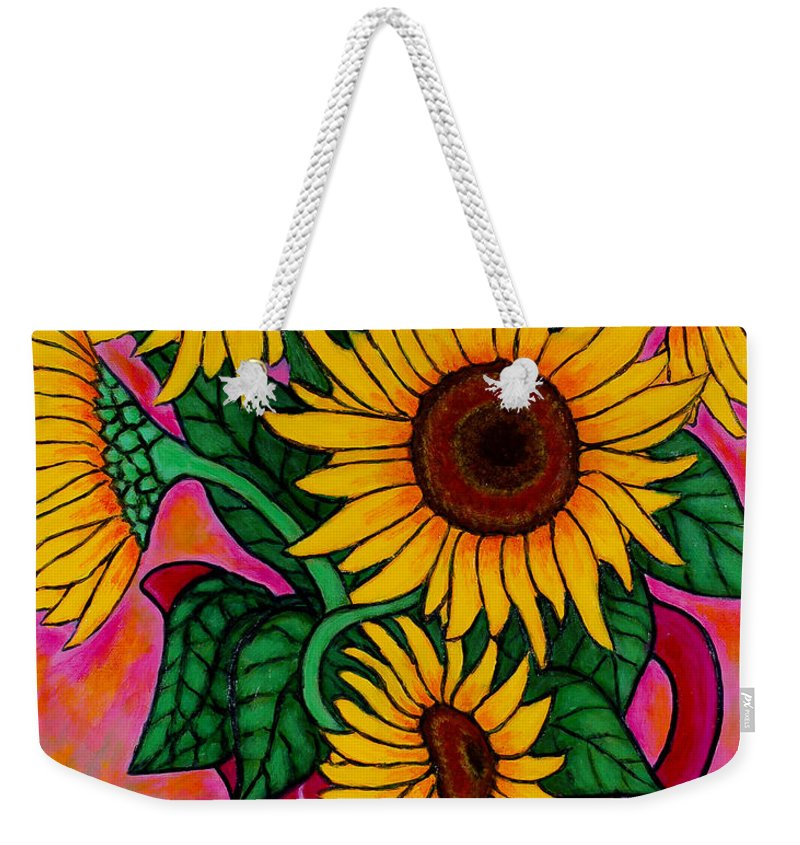 Sunflowers Weekender Tote Bag featuring the painting Saturday Morning Sunflowers by Lisa Lorenz