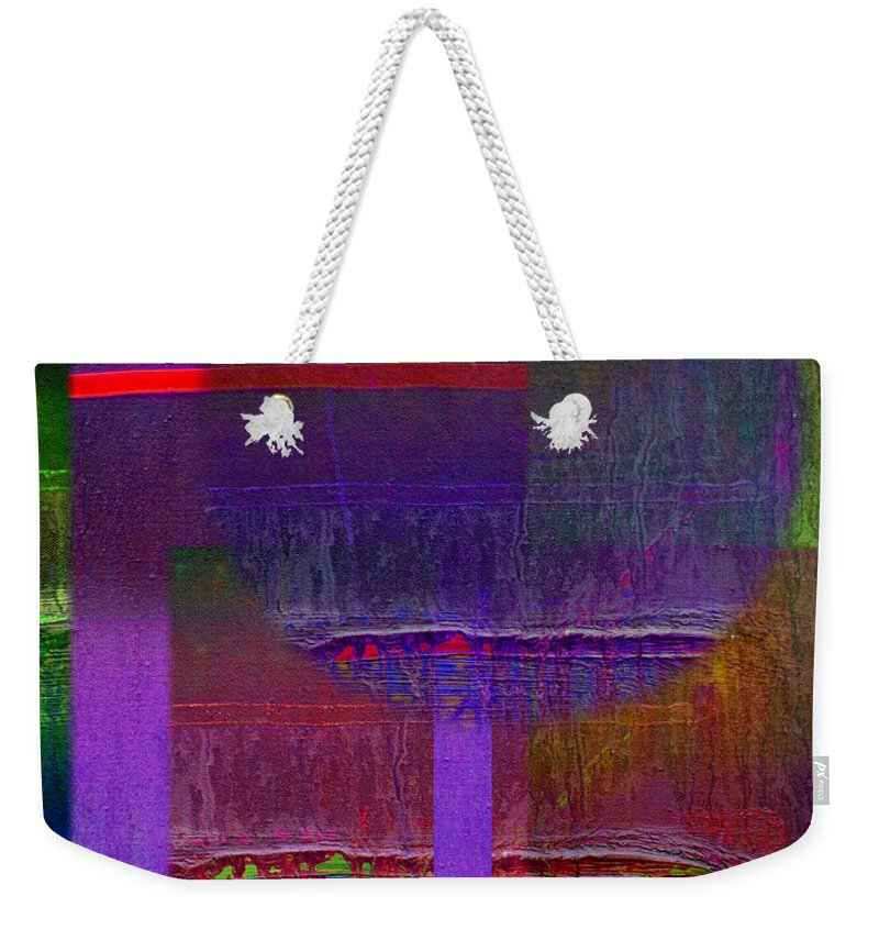 Landscape Weekender Tote Bag featuring the painting Saturn Abstract by Charles Stuart