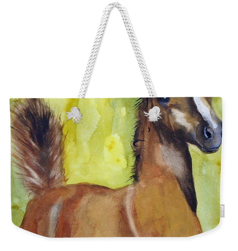 Filly Weekender Tote Bag featuring the painting Saucy by Jean Blackmer