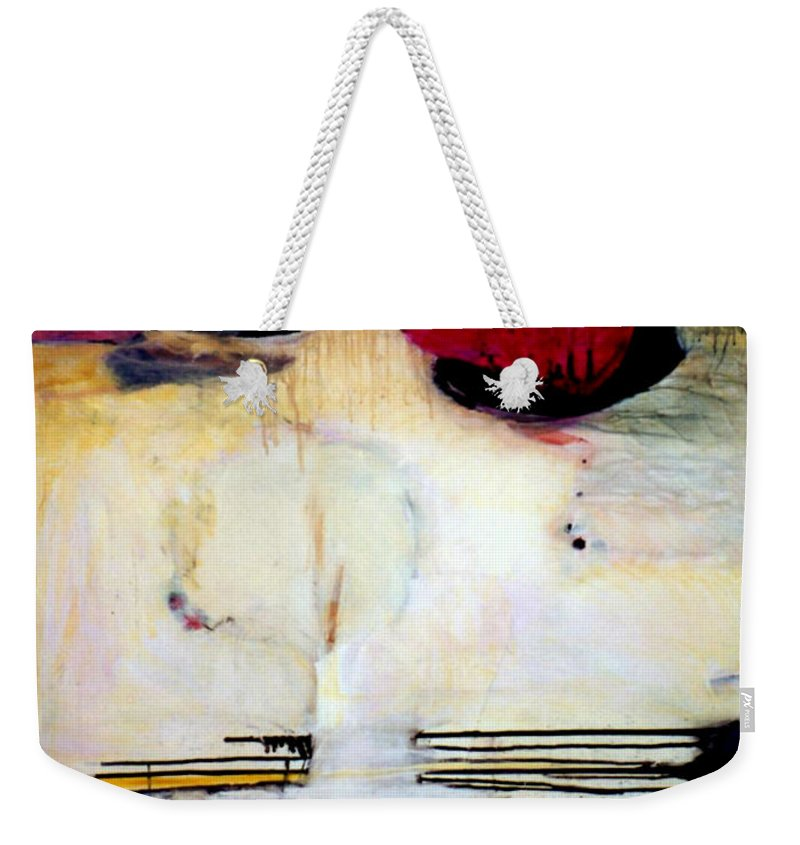 Abstract Weekender Tote Bag featuring the mixed media Sausalito Leap Of Faith by Marlene Burns
