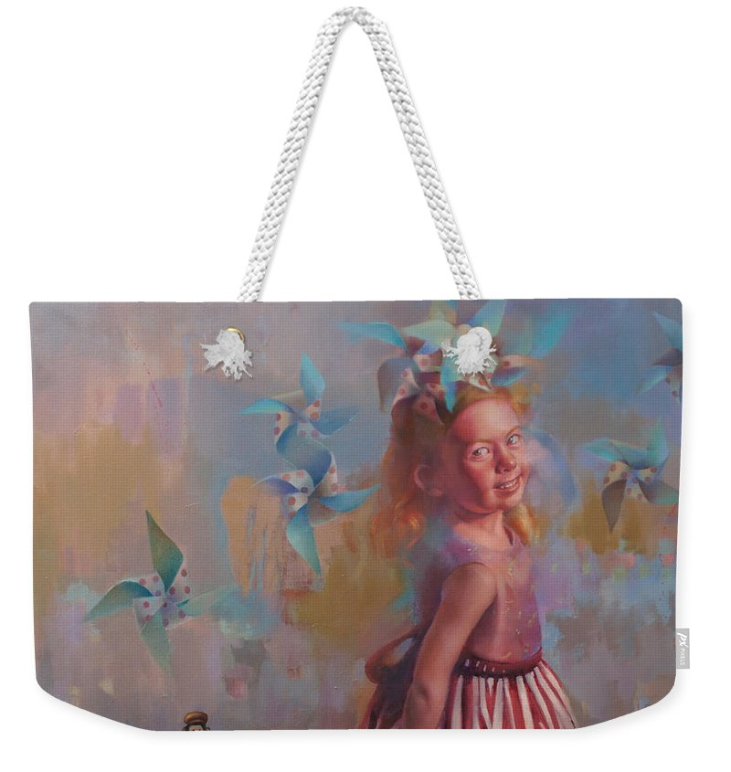 Figurative Weekender Tote Bag featuring the painting Savanah At Play by Cathy Locke